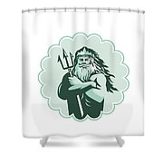 Triton Arms Crossed Trident Rosette Shower Curtain
