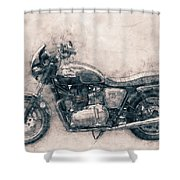 Triumph Bonneville - Standard Motorcycle - 1959 - Motorcycle Poster - Automotive Art Shower Curtain