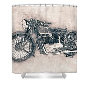 Triumph Speed Twin - 1937 - Vintage Motorcycle Poster - Automotive Art Shower Curtain