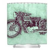 Triumph Speed Twin 3 - 1937 - Vintage Motorcycle Poster - Automotive Art Shower Curtain