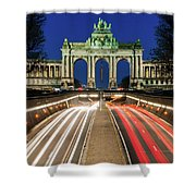 Arcade Du Ciquantenaire At Blue Hour Shower Curtain by Barry O Carroll
