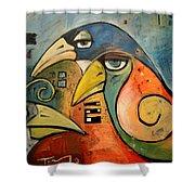Trois Oiseaux Shower Curtain