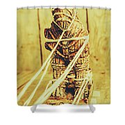 Trojan Horse Wooden Toy Being Pulled By Ropes Shower Curtain