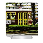 Trolley Car In Motion, New Orleans, Louisiana Shower Curtain
