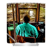 Trolley Driver In New Orleans Shower Curtain