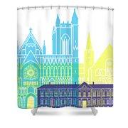 Trondheim Skyline Pop Shower Curtain