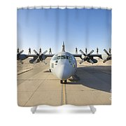 Troops Stand On The Wings Of A C-130 Shower Curtain