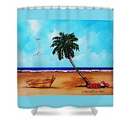 Tropical Beach Scene Shower Curtain