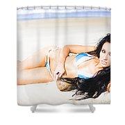 Tropical Beach Woman Shower Curtain