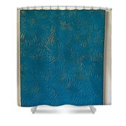 Tropical Palms Canvas Teal Blue - 16x20 Hand Painted Shower Curtain