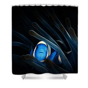 Tropical Clown Fish - Abstract Digital Painting 11x8 Shower Curtain