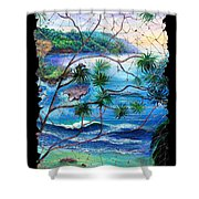 Tropical Cove  Fresco Triptych 2 Shower Curtain