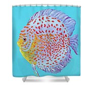 Tropical Discus Fish With Red Spots Shower Curtain