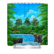 Tropical Falls Shower Curtain