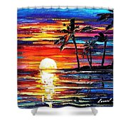 Tropical Fiesta - Palette Knife Oil Painting On Canvas By Leonid Afremov Shower Curtain