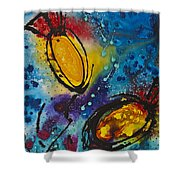 Tropical Flower Fish Shower Curtain by Sharon Cummings