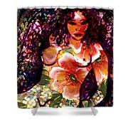 Tropical Flower Girl Shower Curtain