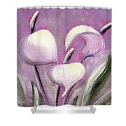Tropical Flowers In Pink Color Shower Curtain