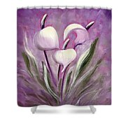 Tropical Flowers In Purple Shower Curtain