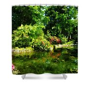 Tropical Garden By Lake Shower Curtain