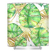 Tropical Haze Blanche Variegated Monstera Leaves, Golden Palm Fronds On Black Shower Curtain