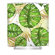 Tropical Haze Green Monstera Leaves And Golden Palm Fronds Shower Curtain