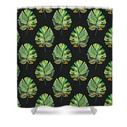 Tropical Leaves On Black- Art By Linda Woods Shower Curtain