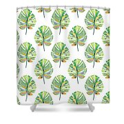 Tropical Leaves On White- Art By Linda Woods Shower Curtain by Linda Woods