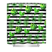 Tropical Leaves Pattern In Watercolor Style With Stripes Shower Curtain