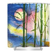 Tropical Moonlight And Bamboo Shower Curtain