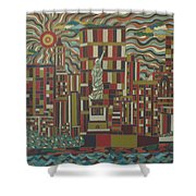 Tropical New York Shower Curtain
