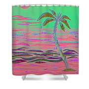 Hot Pink Coconut Palm Shower Curtain
