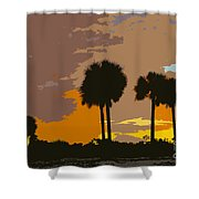 Tropical Palms Work Number Three Shower Curtain