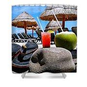 Tropical Paradise Sun, Sand, Beach And Drinks. Shower Curtain