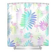 Tropical Pink Flamingos Shower Curtain