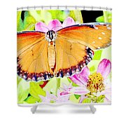 Tropical Queen Butterfly, Soldier Butterfly Shower Curtain