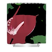 Tropical Red Number 12 Shower Curtain