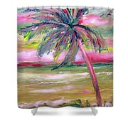 Tropical Sunset In Pink With Palm Tree Shower Curtain