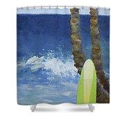 Tropical Surfboard Shower Curtain