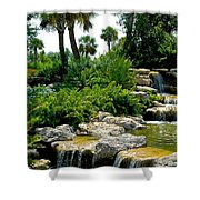 Tropical Water Falls Shower Curtain