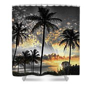 Tropically, Black And Gold. Shower Curtain