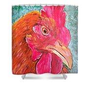 Troubles Portrait Chicken Art Shower Curtain