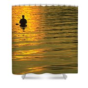 Trout Fishing At Sunset Shower Curtain