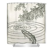 Trout Rising To Dry Fly Shower Curtain by Charles Harden