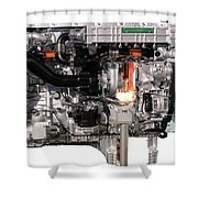 Truck Diesel Engine Isolated On White  Shower Curtain