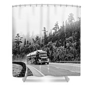 Truck On Foggy Highway Shower Curtain