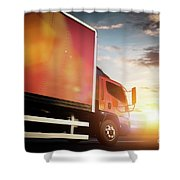 Truck Speeding On The Highway. Transportation Shower Curtain