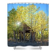 Truckee Shack Near Sunset During Early Autumn With Yellow And Green Leaves On The Trees Shower Curtain