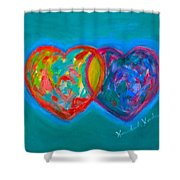 True Blue Hearts Shower Curtain