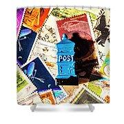 True Blue Postbox Shower Curtain